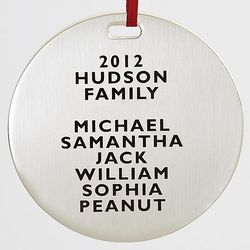 Personalized Family Names Ornament