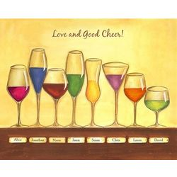 Cheers to Friendship Eight Wine Glasses Print