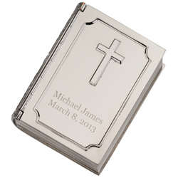 Engravable Hinged Book Box with Cross