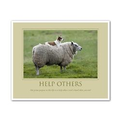 Help Others Sheep and Dog Personalized Fine Art Print