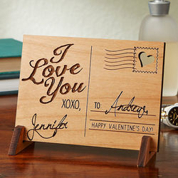 Sending Love Personalized Wood Postcard Plaque