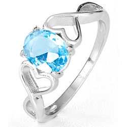 Double Heart Infinity Oval Birthstone Ring