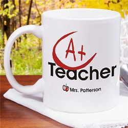 A+ Teacher Personalized Coffee Mug