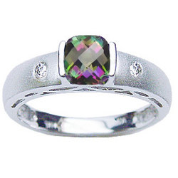 Mystic Topaz & Diamond Stackable Ring