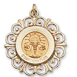 14k Yellow Gold Filigree Outline Carved Confirmation Medal