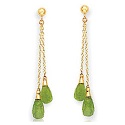 14K Yellow Gold Simple Peridot Drop Earrings