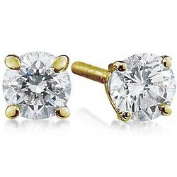 1.50ct Round Diamond Solitaire Earrings in 14k Yellow Gold