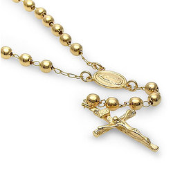 """14K Gold Filled 24"""" Rosary Necklace with Cross Pendant"""