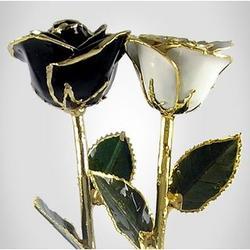 "His & Her 11"" Black & White Roses"