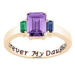 Gold Over Sterling Silver Forever My Daughter Birthstone Ring