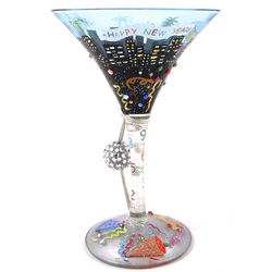 Happy New Year Martini Glass