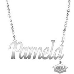 Personalized Sterling Silver Graduation Necklace
