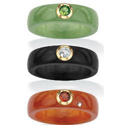 Set of 3 Jade and Gemstone Rings