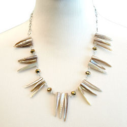 Long Shell Necklace with Brown Crystals