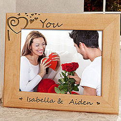 I Heart You Personalized Wooden Picture Frame
