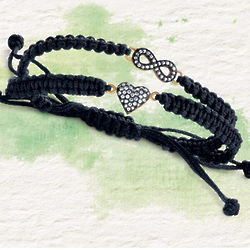 Macrame and Crystal Heart or Infinity Symbol Bracelet