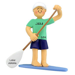 Personalized Male Paddleboarding Christmas Ornament