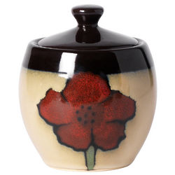 Painted Poppies Sugar Bowl with Lid