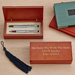 Personalized Double Pen Set in Burlwood Box