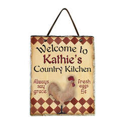 Country Kitchen Rooster Slate Plaque