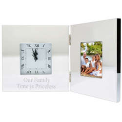 Silver Folding Clock Picture Frame
