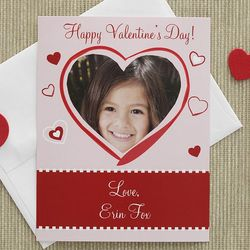 Personalized Photo Heart Valentine's Day Cards for Kids