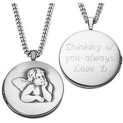 Engraved Angel Locket Pendant