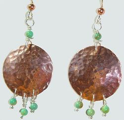 Hammered Copper Earrings with Turquoise Beads