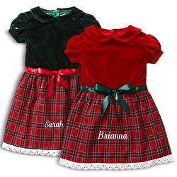 Toddler's Personalized Velvet Christmas Dress