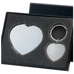 Silver Heart Shape Compact Mirror and Key Chain Gift Set