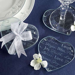 Good Wishes Heart Shaped Glass Coasters