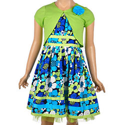 Girl's Azure Blossom Cardigan and Dress