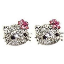 Kitty Crystal with Flower Stud Earrings
