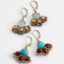 Amazonite with Pink Garnet Earrings