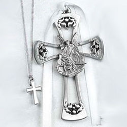 Pewter Baptism Necklace & Guardian Angel Cross Set