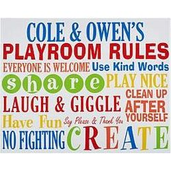 Personalized Playroom Rules Art Canvas