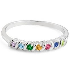 Mother's Sterling Silver Petite 7 Birthstone Ring