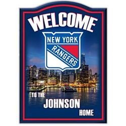 Personalized New York Rangers Wooden Welcome Sign