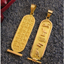Personalized Egyptian Gold Cartouche Pendant with Hieroglyphics