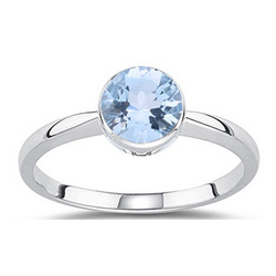 Aquamarine Solitaire Ring in 14K White Gold