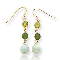 14k Yellow Gold Trendy Peridot and Jadeite Drop Earrings