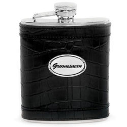 Leather Groomsman Flask