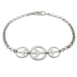 Sterling Silver Triple Peace Sign Bracelet