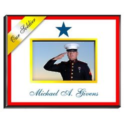 Personalized Blue Star Military Family Picture Frame