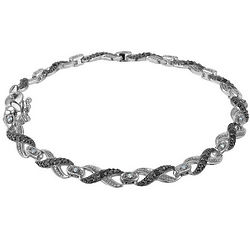 Infinity White and Black Diamond Bracelet