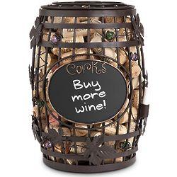 Chalkboard Wine Barrel Cork Cage