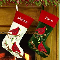 Personalized Velveteen Cardinal Stocking