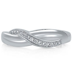 Sterling Silver Cubic Zirconia Twisted Band Ring