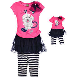 Girl's Jersey and Leggins with Doll Outfit