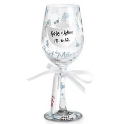 Personalized Just Married Wine Glass